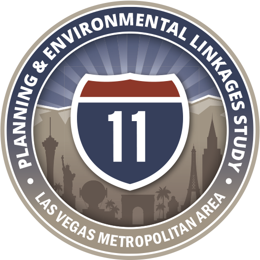 NDOT Planning and Environmental Linkages Study. Las Vegas Metropolitan Area. A logo with the i-11 symbol.